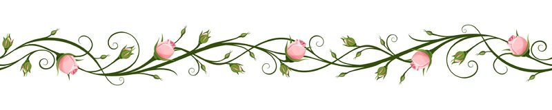 Horizontal seamless background with rosebuds. Vector illustration. Royalty Free Stock Photography