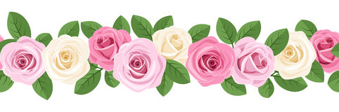 Horizontal seamless background with roses. Royalty Free Stock Image