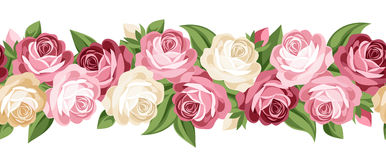 Horizontal seamless background with roses. Illustration of horizontal seamless background with pink and white roses and green leaves on white Stock Photos