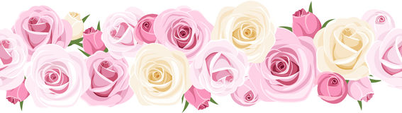 Vector horizontal seamless background with roses. Vector illustration of horizontal seamless background with pink and white roses and rose buds on white Stock Photos