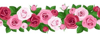 Vector horizontal seamless background with roses. Vector illustration of horizontal seamless background with red and pink roses, rose buds and leaves on white Stock Photos