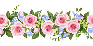 Horizontal seamless background with roses and free Royalty Free Stock Photography
