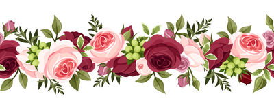 Horizontal seamless background with roses. royalty free illustration