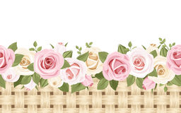 Horizontal seamless background with roses and wick. Horizontal seamless background with pink and white English roses and wicker Royalty Free Stock Photography