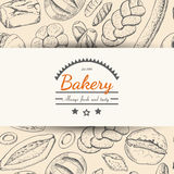 Horizontal seamless background with various bakery products Royalty Free Stock Photo