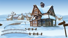 Horizontal seamless background - vector village. A high quality horizontal seamless background - vector village. Old European village. Winter background with Stock Photography