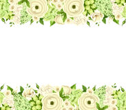 Horizontal seamless background with white and green flowers. Vector illustration. Stock Photo