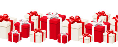 Horizontal seamless background with white and red gift boxes. Vector illustration. Royalty Free Stock Images