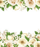 Horizontal seamless background with white roses, lisianthus and lilac flowers. Vector illustration. Stock Images