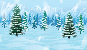 Horizontal seamless background with winter landscape. A high quality horizontal seamless background with winter landscape - mountains, forest and snow Royalty Free Stock Images