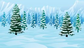Horizontal seamless background with winter landscape. A high quality horizontal seamless background with winter landscape - mountains, forest and snow Royalty Free Stock Photography