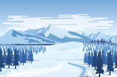 Horizontal seamless background with winter landscape - mountains, forest, snow. A high quality horizontal seamless background with winter landscape - mountains Stock Photos