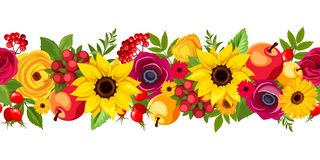 Horizontal Seamless Background With Autumn Flowers. Vector Illustration. Stock Photo