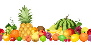 Free Horizontal Seamless Background With Various Fruits. Vector Illustration. Royalty Free Stock Images - 56912849
