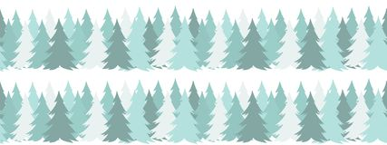 Horizontal seamless border with Christmas green trees on white background in simple flat style. For New Year design. Christmas greeting card mockup, clip art stock illustration