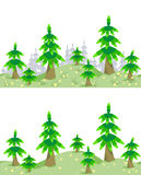 Horizontal seamless border with forest in summer. Spruce forest, flowers and grass in summer seamless border patterns Stock Images