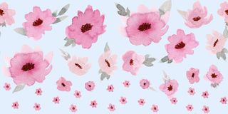 Horizontal seamless border with pastel rose flowers on baby blue background.  stock photography
