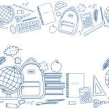 Horizontal seamless borders of education items Royalty Free Stock Image