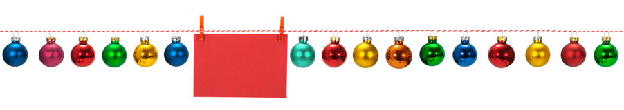 Horizontal seamless Christmas border. With glass baubles on white background, photo stock image