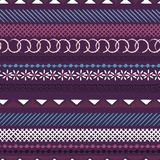 Horizontal seamless colorful pattern with geometric shapes. Tria. Ngles, crosses, circles. line in Hand drawn style for fashion ,fabric and every prints on dark Vector Illustration