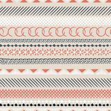 Horizontal seamless colorful pattern with geometric shapes. Tria. Ngles, crosses, circles. line in Hand drawn style for fashion ,fabric and every prints on beige Vector Illustration