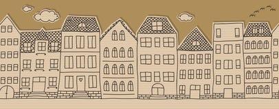 Horizontal seamless doodle houses pattern Royalty Free Stock Photo