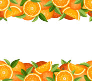 Horizontal seamless frame with oranges. Vector illustration. Vector horizontal seamless frame with oranges and green leaves stock illustration