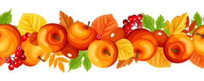 Horizontal seamless garland with autumn apples and leaves. Vector illustration. Vector horizontal seamless garland with autumn colorful apples, rowanberries and Stock Images