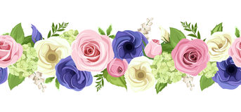 Horizontal seamless garland with colorful flowers. Vector illustration. Vector horizontal seamless garland with pink, blue and white roses, lisianthuses and Royalty Free Stock Photography