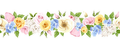 Horizontal seamless garland with colorful flowers. Vector illustration. Vector horizontal seamless garland with pink, yellow, blue and white roses, lisianthuses Stock Photography