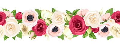 Horizontal seamless garland with red, pink and white flowers. Vector illustration. Vector horizontal seamless garland with red, pink and white roses Stock Images