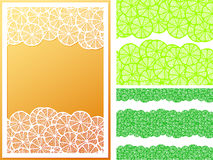 Horizontal Seamless Lemon Slices Pattern And Frame Royalty Free Stock Photos