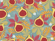 Horizontal seamless pattern with figs and autumn leaves. Colorful background Royalty Free Stock Photo