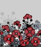 Vertical seamless pattern of red poppies and grey  Stock Image