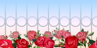 Horizontal seamless pattern of red roses Stock Photos