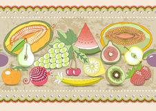 Horizontal seamless pattern set fruit with realistic shadow with colored ornament.  illustration Royalty Free Stock Photos
