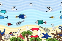 Horizontal seamless pattern of a tropical beach royalty free illustration