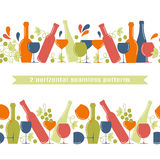 2 horizontal seamless patterns, wine concept. Stock Photos
