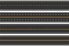 Horizontal seamless roads. Set of asphalt road with markings. Straight highway. Vector Royalty Free Stock Image