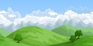 Vector horizontal seamless summer landscape. Stock Photo