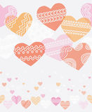 Horizontal seamless texture with hearts Royalty Free Stock Photos