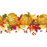 Horizontal seamless vector line with autumn leaves and pumpkins, stock illustration
