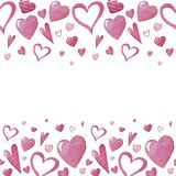 Seamless pattern with Watercolor hearts stock illustration