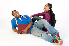 horizontal seated smiling students Στοκ εικόνα με δικαίωμα ελεύθερης χρήσης
