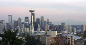 Horizontal Seattle Skyline SPace Needle Mt Rainier Royalty Free Stock Image