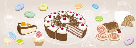 Horizontal set of desserts and pastries, symbolizing a coffee sh Royalty Free Stock Photos