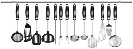 Horizontal set kitchen utensils. Illustration with 13 kitchen utensils hanging on steel pole on a white background Stock Photos