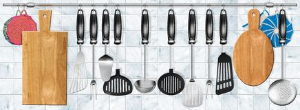 Horizontal set kitchen utensils Stock Image