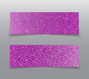 Horizontal set Pink sequins banners. Glitter. Royalty Free Stock Images