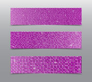 Horizontal set Pink sequins banners. Glitter. Stock Photography